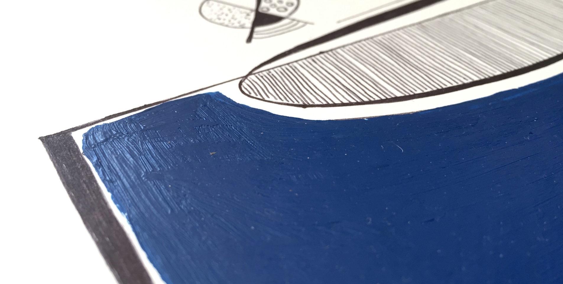 Détail du dessin fait au stylo noir et peinture bleue